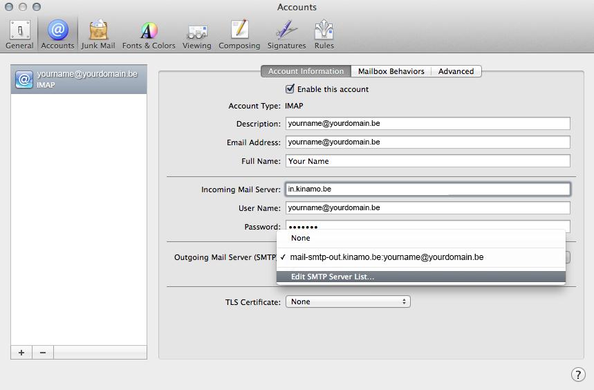 Mac mail configuration des serveurs e mail imap et serveur sortant smtp - Smtp and pop3 port number ...