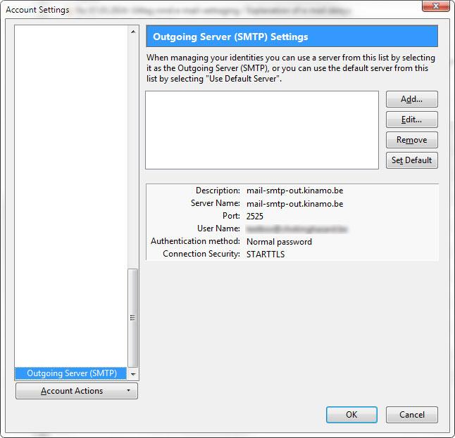Thunderbird: setup of the Kinamo outgoing server (SMTP)