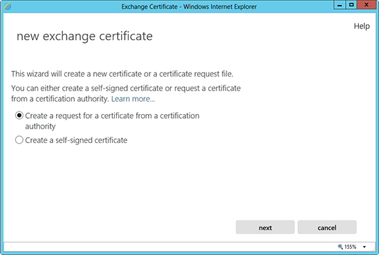 Microsoft Exchange 2013 - Generate an SSL certificate request (CSR)