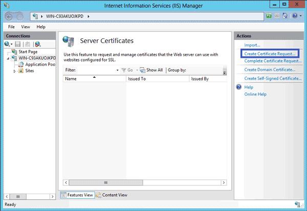 Microsoft IIS 8 - Generate SSL certificate request (CSR)