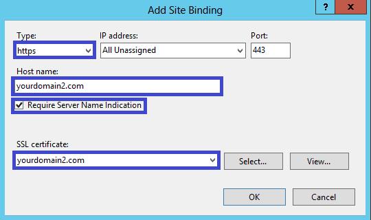 Microsoft IIS 8 - Configure Server Name Indication (SNI)